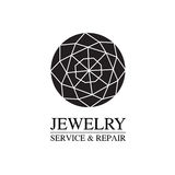 Vector image of logo jewelry service. Trendy concept for repair shop or maintenance of jewelry products. Vector image of logo jewelry service. Trendy concept for Royalty Free Stock Photography