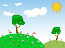 Vector. Image of a magnificent summer landscape with green emerald grass, flowering trees and flowers, flying butterflies and a br. Ight sun in the blue sky royalty free illustration