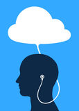 Vector image of male wearing headphones connected to cloud Royalty Free Stock Image