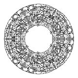 Vector image of a mandala, made in the form of black-and-white drawing in the style neyrografika. Stock Photography