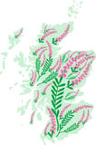 Vector image map of Scotland with heather flowers Royalty Free Stock Image