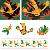 Vector image of monkey on palm trees background royalty free illustration