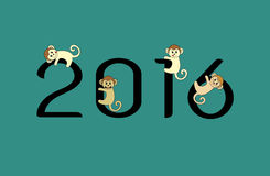 Vector image of an monkeys and 2016 numbers. On blue  background Stock Photos