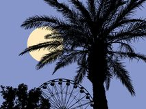 Moonlit night at the resort. Vector image of a moonlit night in a resort park Royalty Free Stock Images