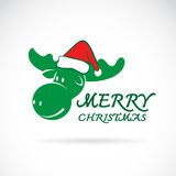 Vector image of an moose and santa hats Stock Images