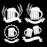 Image mugs of beer. Drinks with a lot of foam. Royalty Free Stock Photography