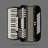 Vector image of a musical instrument accordion. On a gray background Stock Photography