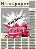 Vector image of a newspaper with bad news and a large stamp fake. Vector image of the title page of the newspaper with newspaper breaking news. The main image on Vector Illustration