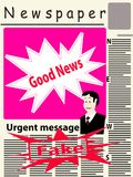 Vector image of a newspaper with good news and big red stamp wit. Vector image of the title page of the newspaper with newspaper breaking news. The main image on Vector Illustration