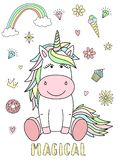 Vector Image Of A Cute Unicorn With Hearts, Flowers, Rainbow, Diamonds And The Inscription Magical. Concept Of Holiday, Baby Showe Royalty Free Stock Images