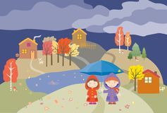 Vector Image Of Cheerful Children Under Umbrella Strolling In Their Village On Autumn Rainy Day Royalty Free Stock Photos