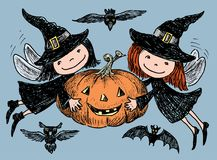 Free Vector Image Of Merry Elves With Halloween Pumpkin Royalty Free Stock Photo - 123996965