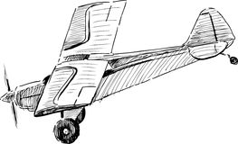 Flying old airplane. Vector image of a old flying plane royalty free illustration