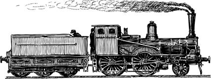 Ancient locomotive. Vector image of the old locomotive of 19th century royalty free illustration