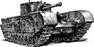 Ancient tank. Vector image of an old tank Royalty Free Stock Image