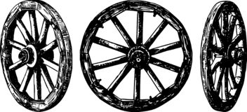 Vector image of old wooden wheels royalty free stock photos