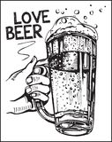 Vector image of one hand holding beer mugs. Love beer. Royalty Free Stock Photo
