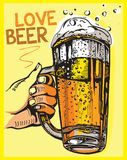 Vector image of one hand holding beer mugs.Love beer. Royalty Free Stock Images