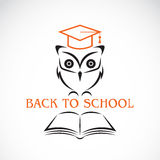 Vector image of an owl with college hat and book Royalty Free Stock Photography