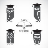 Vector image of an owl with college hat and book  Stock Images