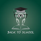 Vector image of an owl glasses with college hat Royalty Free Stock Image