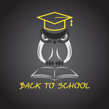 Vector image of an owl glasses with college hat Royalty Free Stock Images