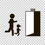 Vector image of people running to the door of which the exit is Royalty Free Stock Photo