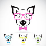 Vector image of a pig glasses. On white background. Fashion vector illustration