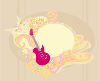 Pink guitar with wide area for your information. Royalty Free Stock Images
