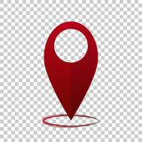 Vector image  positioning on the map. Mark icon. Red icon locati. On drop pin on transparent  background Stock Image