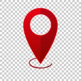 Vector image  positioning on the map. Mark icon. Red icon locati. On drop pin on transparent  background Royalty Free Stock Photos
