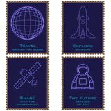 Postage stamps depicting a planet, an astronaut, a spaceship and a satellite vector illustration