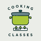 Vector image of pressure cooker with text cooking classes. Against white background Stock Images