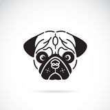 Vector image of pug's face. On white background stock illustration