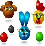 Vector image of a ram, rooster, bunny and easter eggs. vector illustration