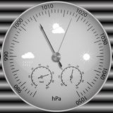 Barometer for determining atmospheric pressure. Vector image of a realistic barometer for determining atmospheric pressure Stock Image
