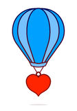 Vector image of red heart hanging from hot air balloon Stock Photography