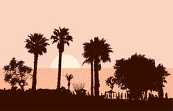Dawn on the Greek resort. Vector image of a resort beach in a greek island Stock Images