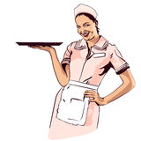 Vector image retro diner waitress Stock Images