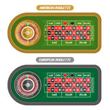 Vector image of Roulette Table. American roulette with double zero and golden Wheel top view, european or french roulette table with silver wheel isolated on vector illustration