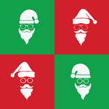 Vector image of santa hats and beards and eyeglasses Stock Images