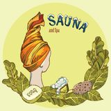 Vector image of sauna accessories in background image. Vector background with cartoon hand drawn sauna objects: broom, towel, hat, wisp, beer, steam. Relaxation Royalty Free Stock Photos