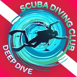 Scuba Dive Club Deep Dive. Vector image of a scuba diver on a background of a stylized maelstrom with a flag or a scuba mark diving: a white strip on a red Royalty Free Stock Photography