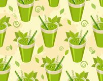 Green cocktail seamless pattern. Vector image of a seamless pattern of detox cocktail for a healthy lifestyle in a glass with a straw Stock Images