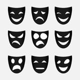 Vector image set of black theatrical masks. Vector image of set of black theatrical masks Royalty Free Stock Photo