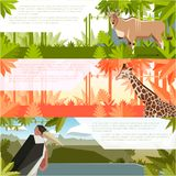 Set of flat banners with african animals royalty free illustration