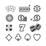 Vector image of a set of gaming icons.Casino icons. Vector image set of gaming icons.Casino icons royalty free illustration