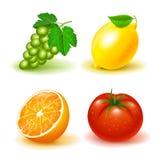Vector image set icons of fruits and vegetables, grapes lemon orange tomato white. Vector image set icons of fruits and vegetables, grapes lemon orange tomato stock illustration