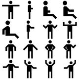 Vector image set of posture people icons. stock illustration