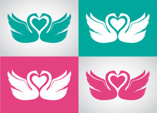 Vector image set of two loving swans Royalty Free Stock Image
